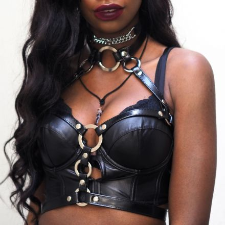 Black Faux Leather O Ring Harness